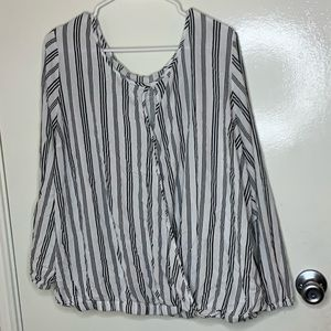 Torrid black and white striped long sleeved blouse